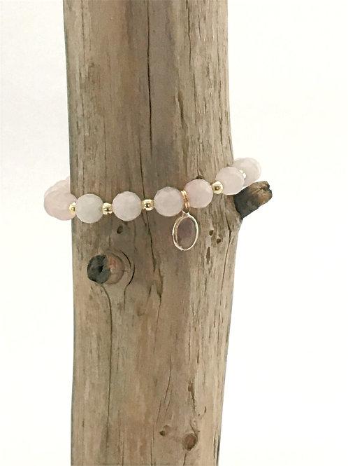 Manik-manik natuurstenen dames armband rozenkwarts