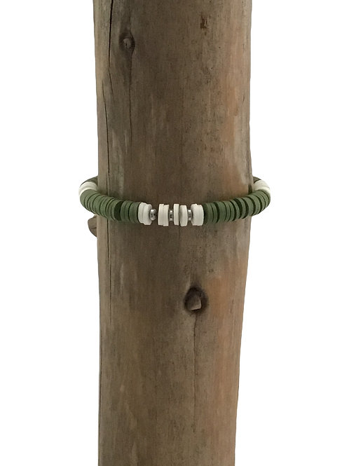 Manik-manik meisjes armband olijfgroen/wit