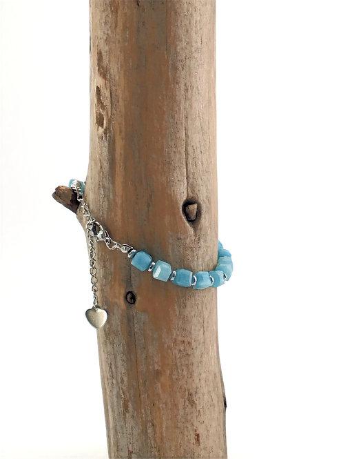 Manik-manik natuurstenen dames armband jade/hematiet
