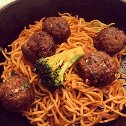 Asian version of spaghetti and meatballs