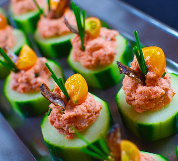 Food - Spicy Salmon Cucumber Bites