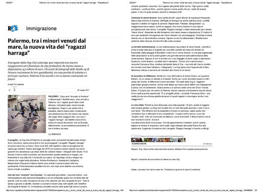 Articolo su REPUBBLICA di Matteo Marini, intervista a Marco Sartori per il reportage Harraga fatto
