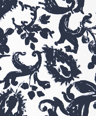 Painted Paisley Navy on White