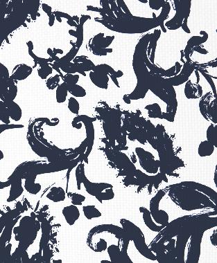 Tillett Textiles Painted Paisley Navy