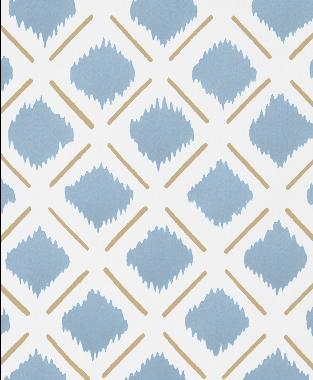 Tillett Textiles Chit Chat Lines Khaki & JD Blue