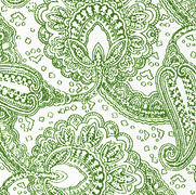 Paisley Envinced Forest Green on White
