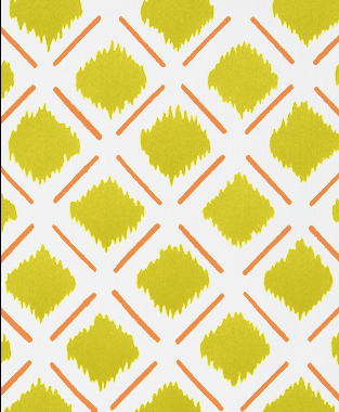 Tillett Textiles Chit Chat Lines Carrot & Charteuse