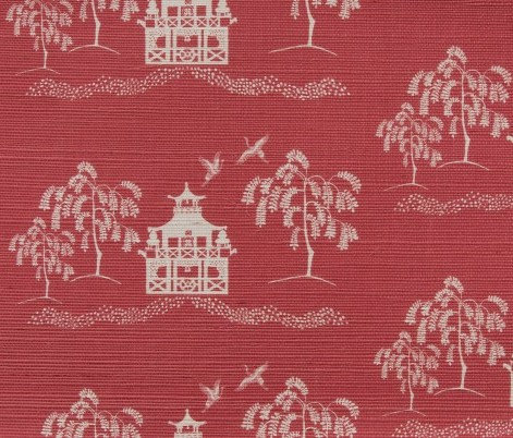 CASA BY P.C.Spring Pagoda Grasscloth in Denim Red