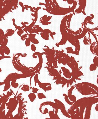 Tillett Textiles Painted Paisley Deep Coral