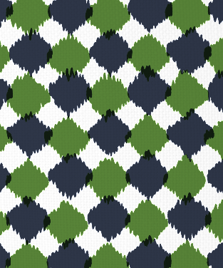 Chit Chat Navy and Forest Green on White