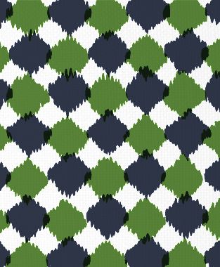 Tillett Textiles Chit Chat Forest Green & Navy