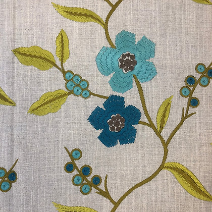 Harlequin Blue and Green Floral Embroidery