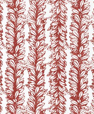 Tillett Textiles Leaves a Scrollin Deep Coral