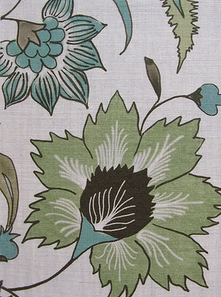FLORAL SCROLL Green Oyster Linen