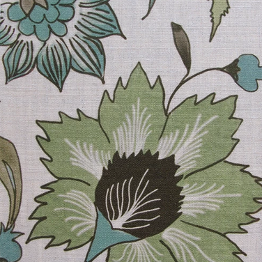 Floral Scroll Green Natural