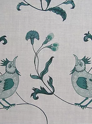 BIRD SONG Green UK Natural Linen