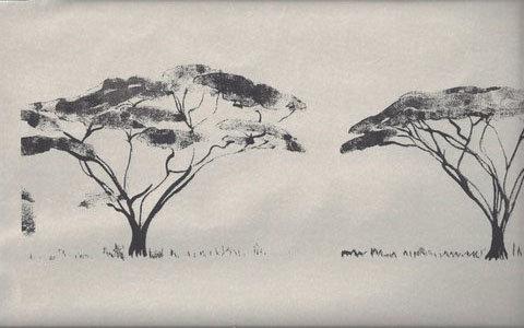 Mally Skok Botswana Trees Wallpaper Charcoal