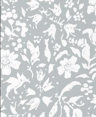 Tillett Textiles Wild Flower Blotch Metallic Silver