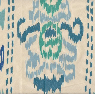 Ikat Crazy Blue on Silk