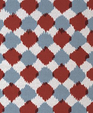 Tillett Textiles Chit Chat JD Blue & Deep Coral