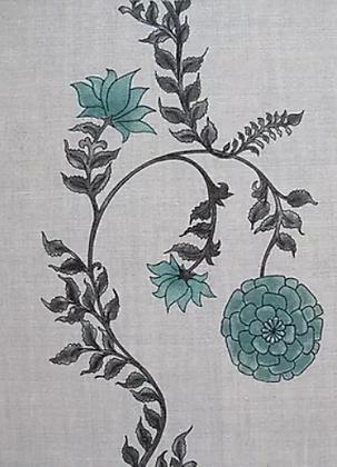 POPPY STRIPE Green UK Natural Linen
