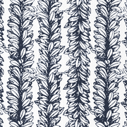 Leaves a Scrollin Navy on White