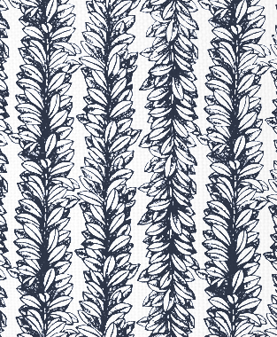 Tillett Textiles Leaves a Scrollin Navy