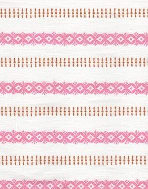 Madder Cutch & Co K Stripe and Blossom Flamingo and Saffron on White