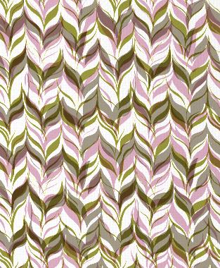 Tillett Textiles Watermarks Forest Moss, Pink Pansey & Putty
