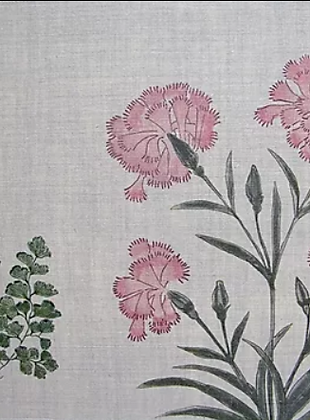 MUGHAL MEADOW Pink UK Natural Linen