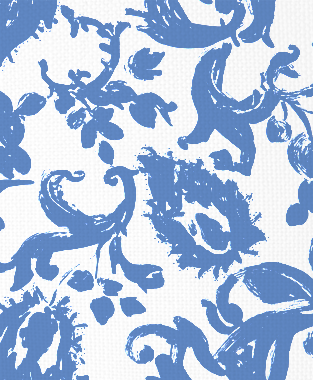 Tillett Textiles Painted Paisley Blue Lapis