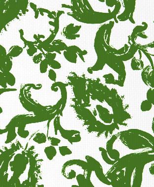Tillett Textiles Painted Paisley Forest Green