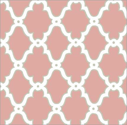 Ferran Textiles Wallpaper Lattice Nantucket Red