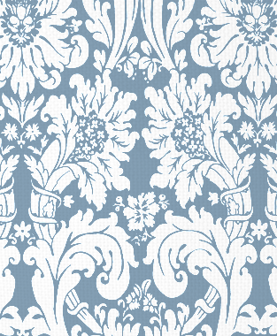 Tillett Textiles Floral Damask JD Blue