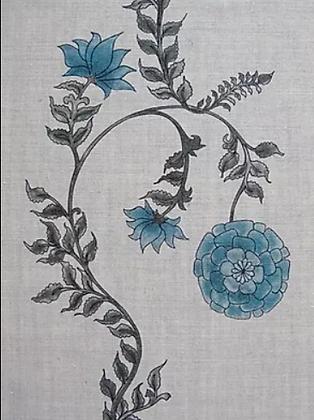 POPPY STRIPE Blue UK Natural Linen
