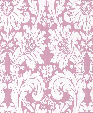 Tillett Textiles Floral Damask Pink Pansey