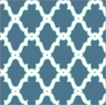 Ferran Textiles Wallpaper Lattice Indigo