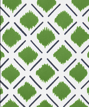 Chit Chat Lines Navy and Forest Green  on White