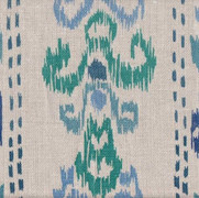Ikat Crazy Blue on Linen