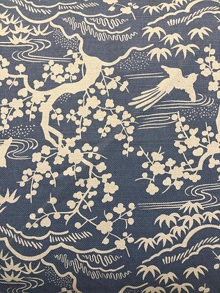 Tillett Textiles Cherry Blossom Toile Blueberry