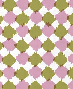Tillett Textiles Chit Chat Pink Pansey & Forest Moss