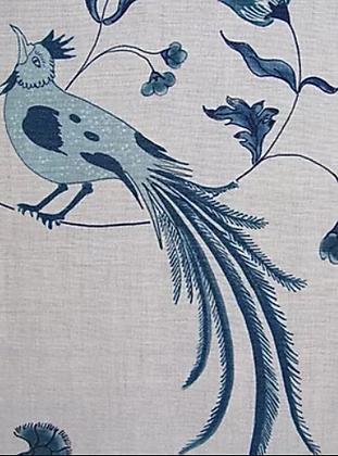 BIRD SONG Blue UK Natural Linen