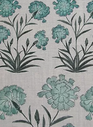 MUGHAL MEADOW MINI Green Oyster Linen