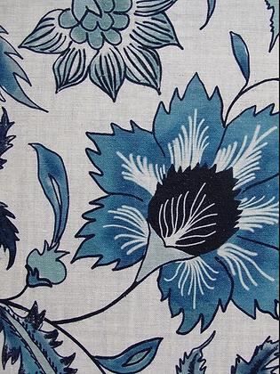 FLORAL SCROLL Blue UK Natural Linen