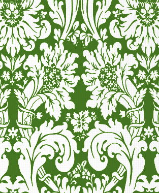 Tillett Textiles Floral Damask Forest Green