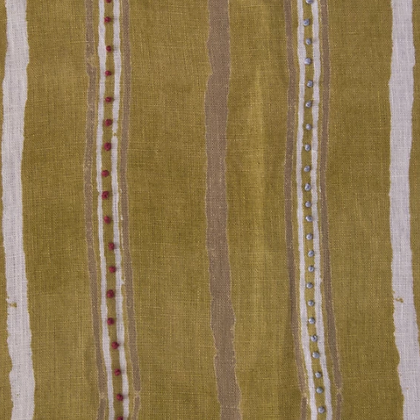 Nichola Taylorson Dabu Stripe Mustard Green Emb