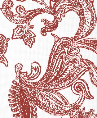 Tillett Textiles Kingston Paisley Deep Coral