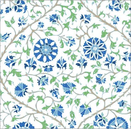 Ferran Textiles Urfa White China Blue