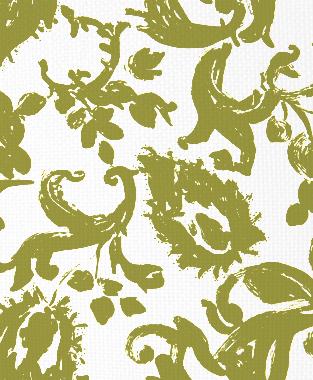 Tillett Textiles Painted Paisley Forest Moss