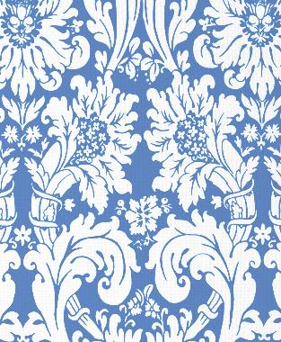 Tillett Textiles Floral Damask Blue Lapis